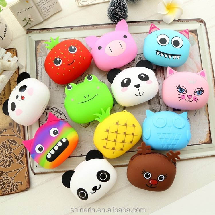 Fashionable Zipper Key Bag Korean Style Animal Cartoon Shape Silicone Coin Purse