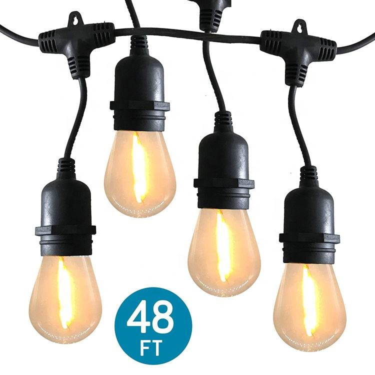 E27 สายไฟ led String S14 Edison หลอดไฟ Led serial ไฟ 48ft 15 sockects - EU plug