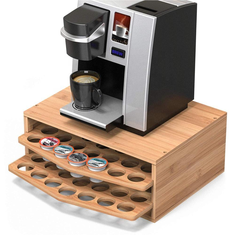 Assemble Removable 2-tier Bamboo Wooden Coffee Tea Storage Organizer Kcup Pod Capsule K Cup Holder with Drawer for K-cups