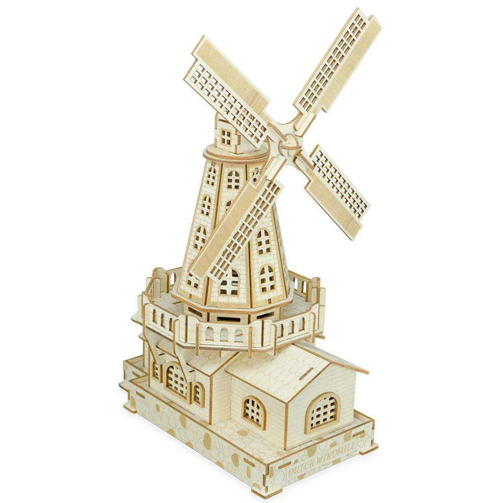 World Famous Buildings Mechanical Dutch Windmill 3D Wooden Puzzles DIY Assembly Constructor Kit Toy for Kids Teens Adults