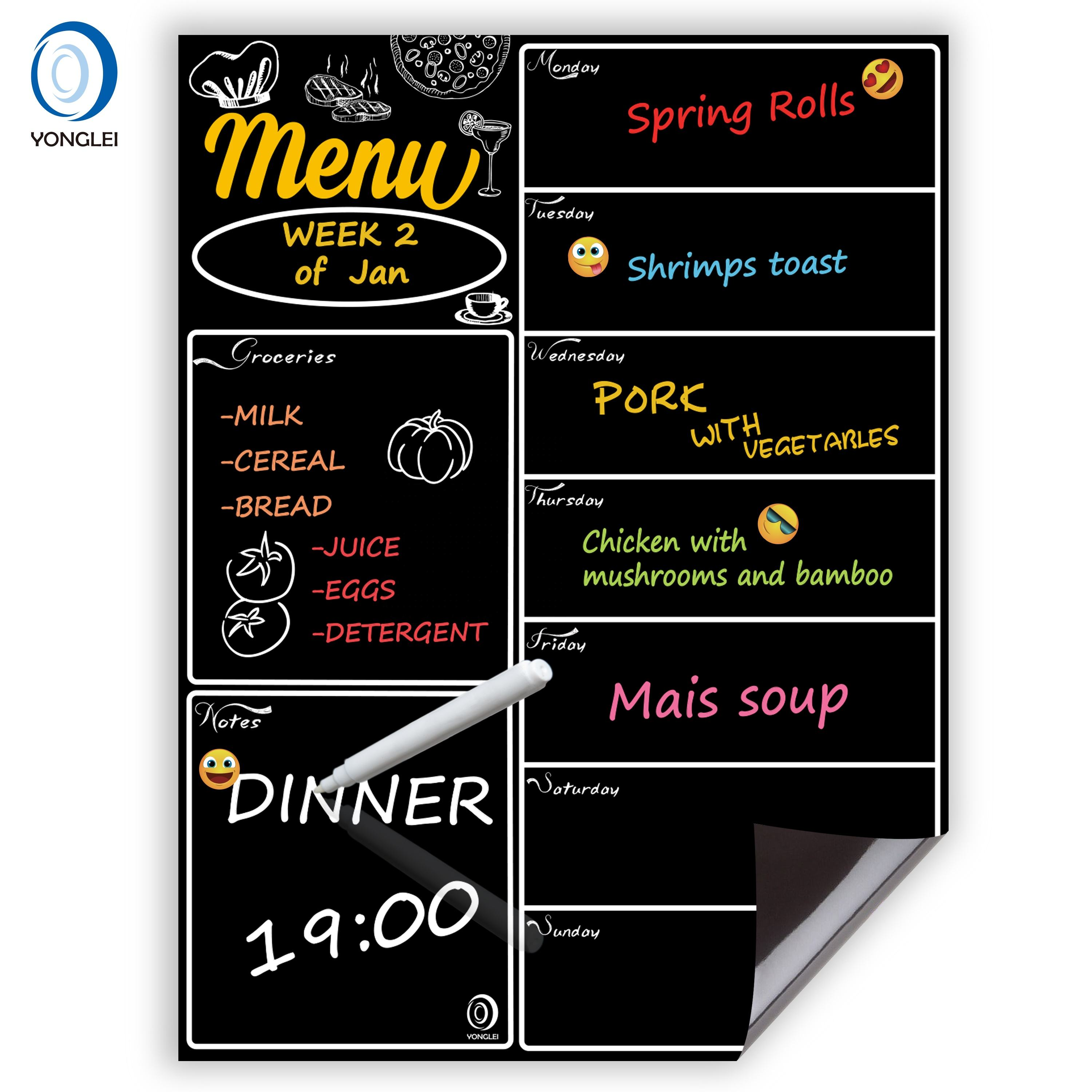 9.4-2 Easy erasable magnetic chalkboard menu magnetic blackboard for fridge