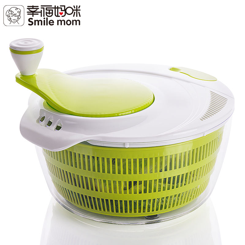 Smile mom Wholesales Spinner Salad Large Plastic Manual Salad Spinner with locking clips