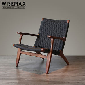 Vintage Hans Wegner wishbone beech solid wood arm chair with paper rattan rush seat and back