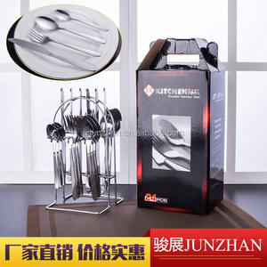 24pcs stainless steel cutlery set with wire stand and color box