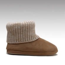 HC-830 wholesale knitted shaft winter warm ankle casual home slipper boots for women