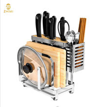 Multi-function Standing Type Kitchen Utensil Organizer Storage Stainless Steel Knife Drying Holder Rack
