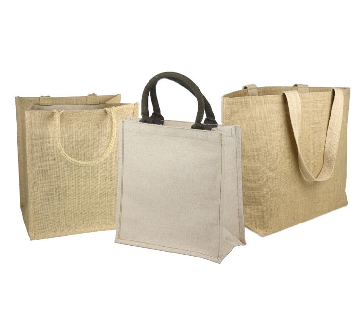 China Supplier Promotional Burlap Jute Tote Bag Linen Shopping Bags With Logo