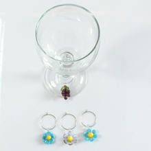 Lampwork glass beaded wine glass charms markers for cup decoration