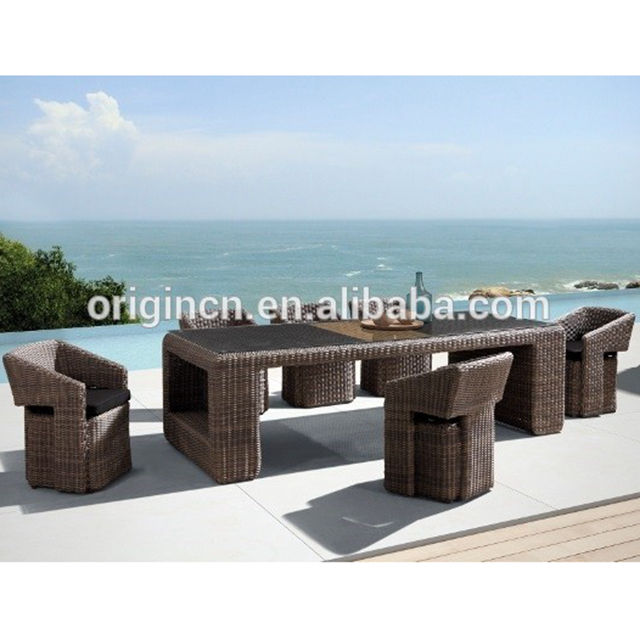 Exotic tropical style long dining table and wicker chair resort outdoor unique restaurant furniture