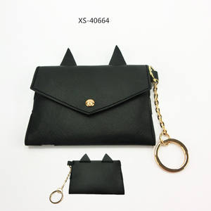 Wholesale Cat Ear Leather Coin Purses Envelope Women Change Purse Girls Wallet With Tassel