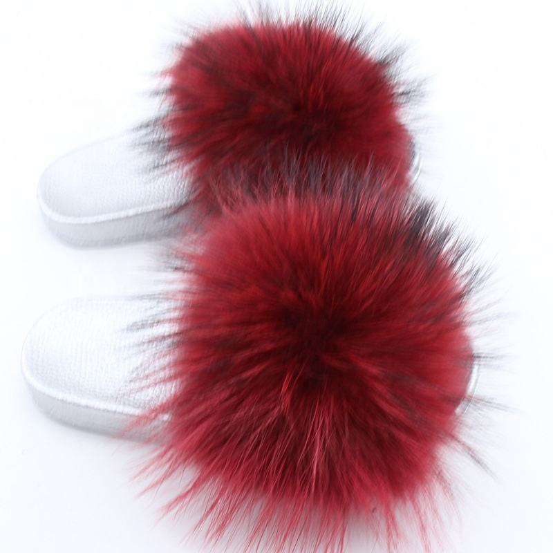 2019 Good Price Designer Raccoon/Fox/sheep fur Slippers Slides Design Woman Fur Slides red fur and silver sole
