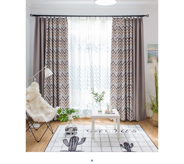 Factory supply Moq 1 roll cotton linen blackout printed fabric curtain for the living room