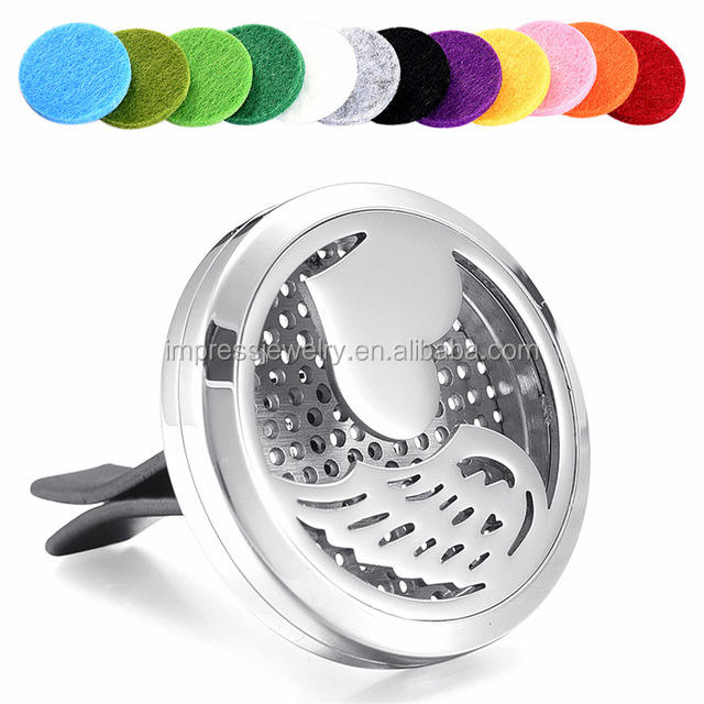 Love Heart Angel Wing Magnet Diffuser Stainless Steel Car Aroma Vent Essential Oil Car Diffuser Lockets With Free 12 Pads