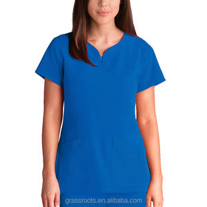 Últimas senhoras design de moda elegante azul uniforme de enfermeira do hospital enfermeira china oem por atacado