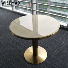 2018 European style restaurant cafe marble top stainless steel base round dining table