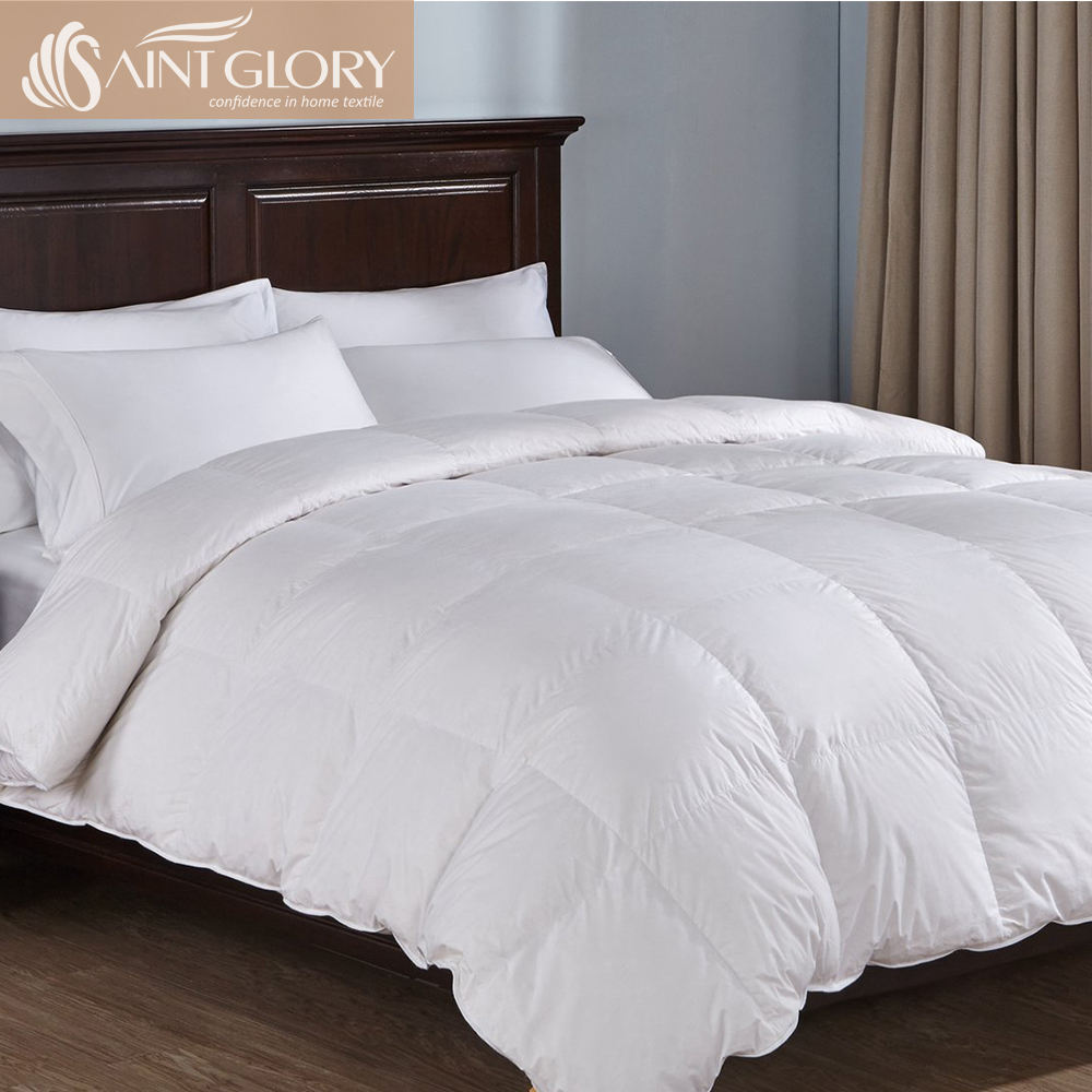 Solid White 100 % Egyptian Cotton 1200 Thread-Count Full Queen Size Siberian Premium Luxury Hotel Goose Down Comforter