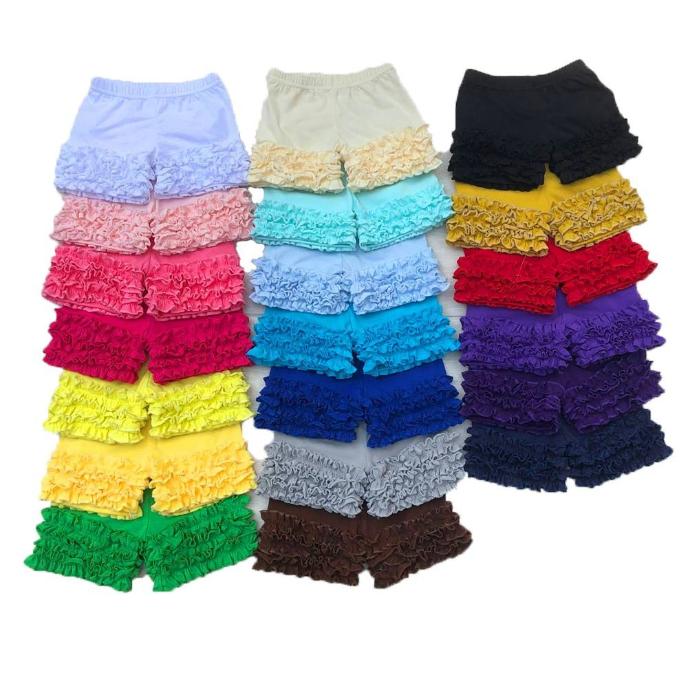 wholesale Summer kids clothes multicolored cotton shorts solid baby icing ruffle pants
