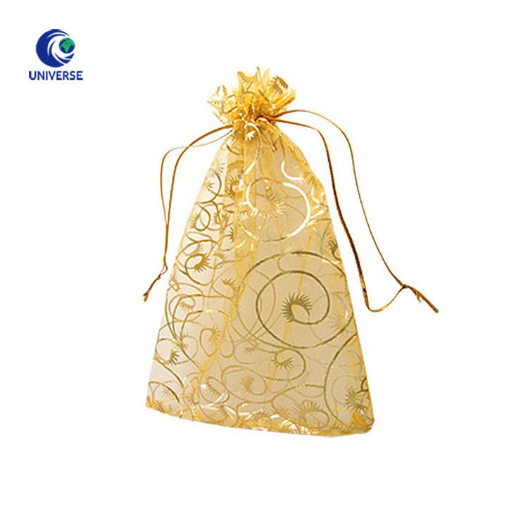 Custom Logo Gold Organza Bead Jewelry Gift Packaging Drawstring Pouch Bag