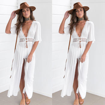 Women Casual Chiffon Cardigan Long Beach Dress Brief White Dresses Sexy Short Sleeve Ladies Boho Maxi Dress