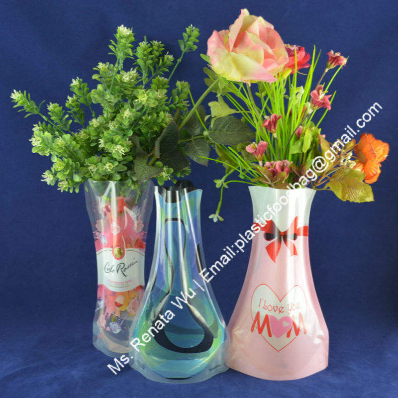 plastic foldable flat flower vase decoration