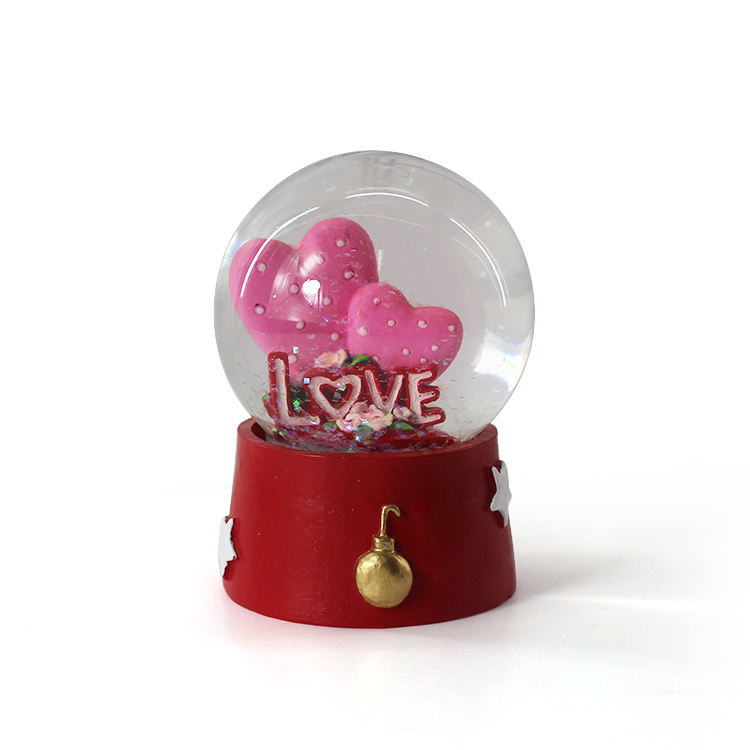 Double Heart Shape Personalized Snow Globe