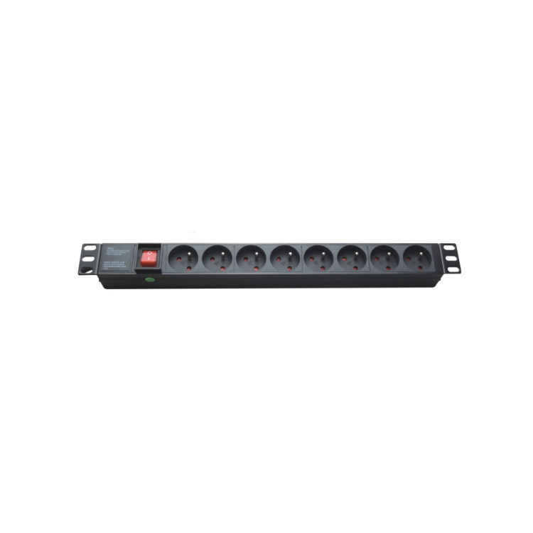 19 inch French Type 16A 1U 8 Ways Monitored Rack Mount PDU with Master Switch