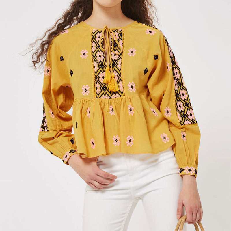 OEM Service Wholesale Long Sleeve Cotton Women Blouse