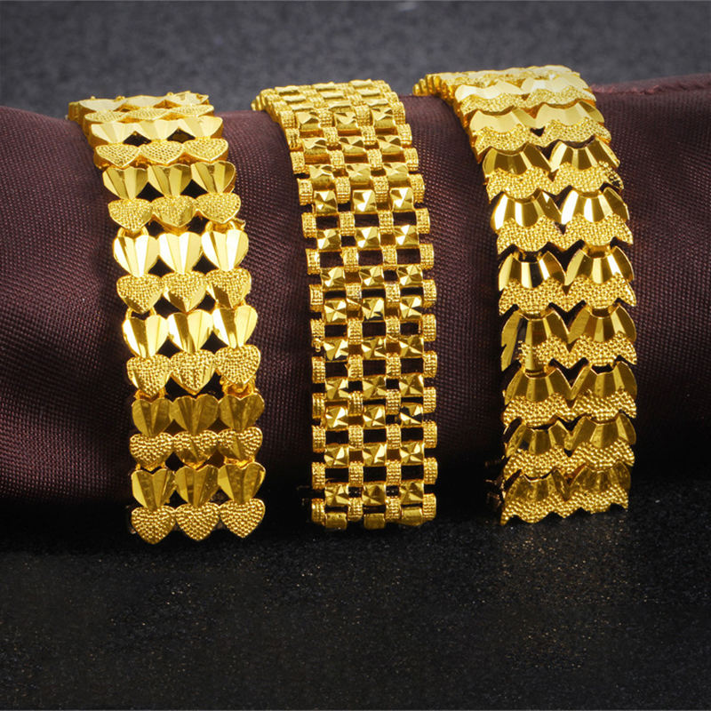 2019 mode Simple 24K Or Manchette Bracelets conceptions Garder Couleur Vietnam Alluviale Or Bracelets Bijoux