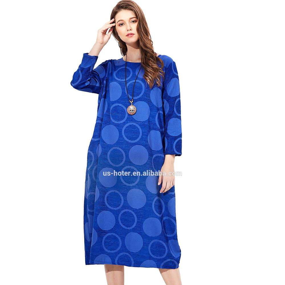 Amazon Hot Sell Women Asian Clothing Oriental Element Long Sleeve Dress Round Neck