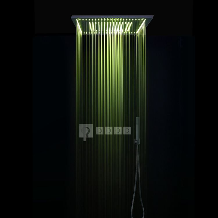 Shower System Double Waterfall Rainfall Large Ceiling LED Rain Shower Head Recessed Automatic Color Change shower Head