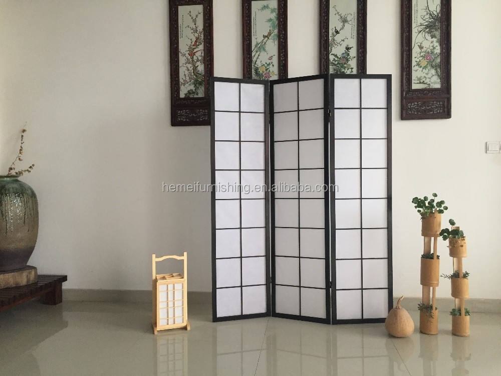 Solid Wood Folding Shoji Screen Solid Wooden And Non-woven Fabric Folding Shoji Screen With 2 Colors