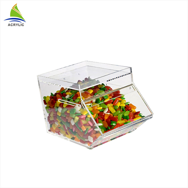 Clear Acrylic Tabletop Scoop Candy Container Bins Boxes, Clear Lucite Candy Dispenser Acrylic Dry Food Dispenser