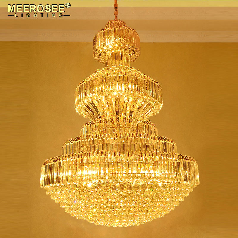 MEEROSEE Luxury Traditional Crystal Hanging Chandelier Big Chandeliers for High Ceiling with K9 Crystal Ball MD85205