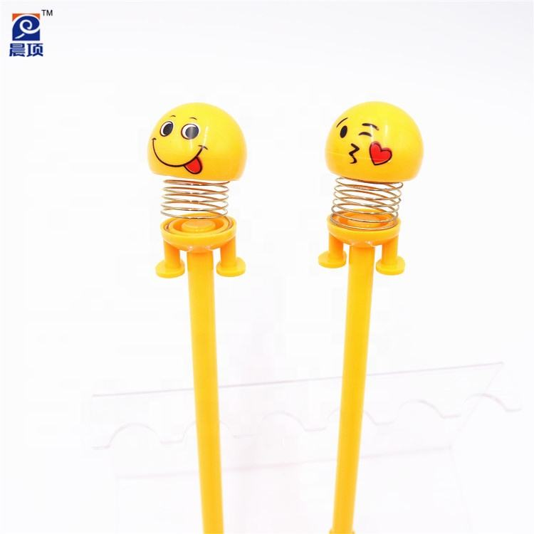 Funny toy decoration emoji moving heads doll pen smiling face pen bouncing head spring shake jump plush emoji pen