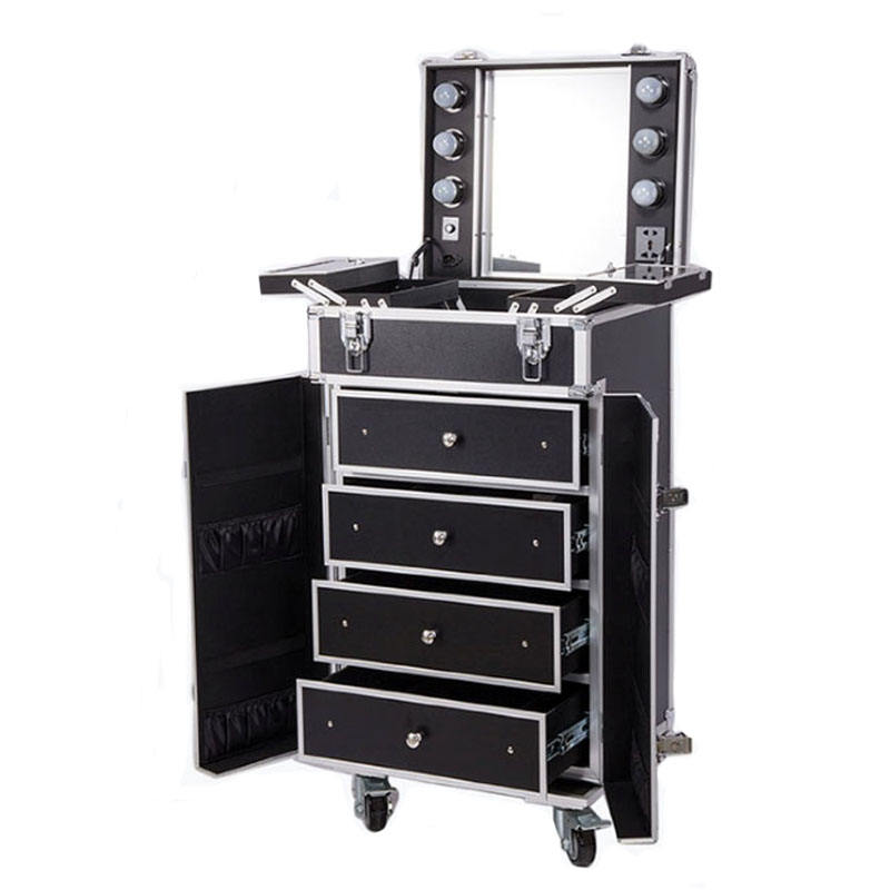 Professional Wood Makeup Cabinet Trolley Case With Lighted Mirror