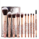 New Design Beauty Products 2019 Cosmetics 10 pcs Custom Logo Glitter Makeup Brushes Set With Diamond