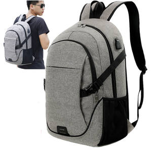 For 15.6 Inch Computer Grey Waterproof Anti-theft Business Laptop Backpack with solar energy mobile power
