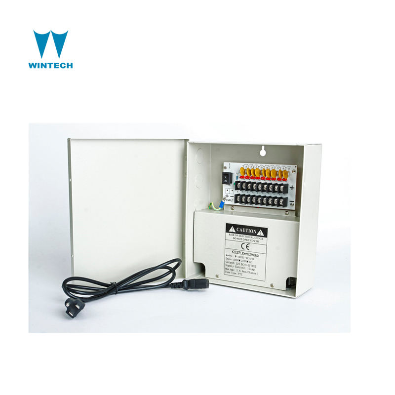 Manufacturer 9 output 10amps PTC fused metal boxed cctv camera security power supply unit for cctv