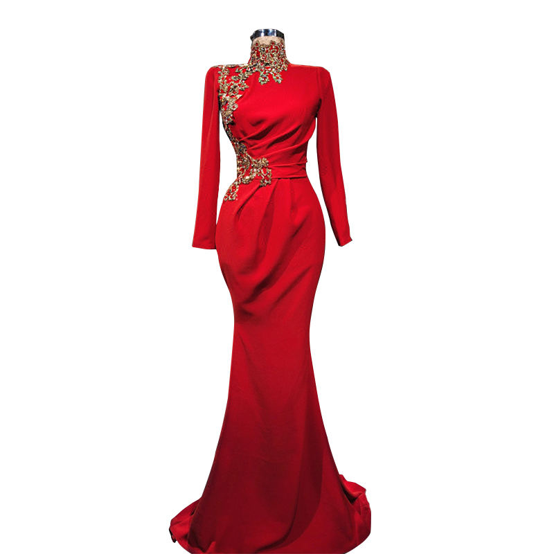 Red Evening Dress Elegant Long Prom Dress Ladies Women Dresses With Gold Applique Robe