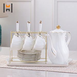 Wholesale white ceramic coffee cup set porcelain afternoon tea pot set with cup and saucer