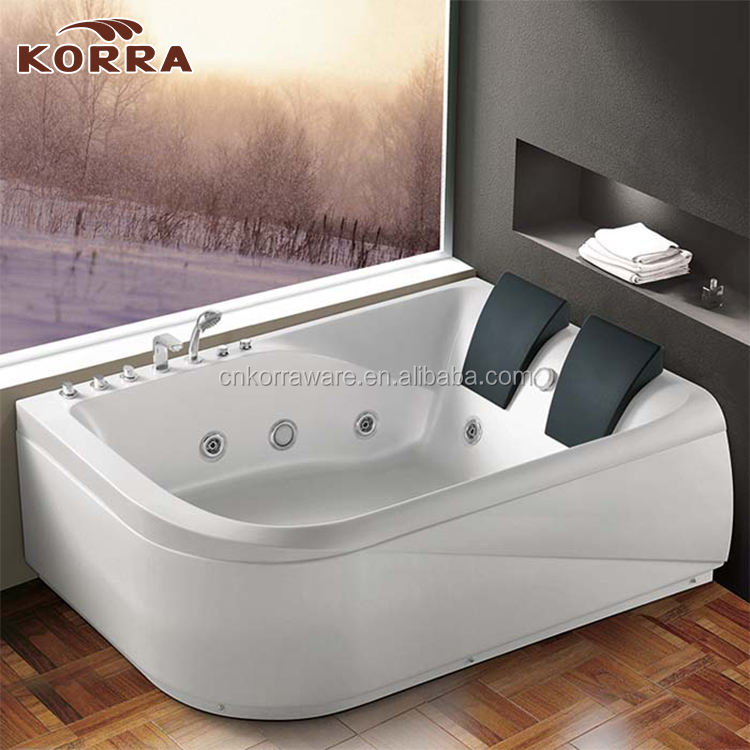 2 Person indoor Bathtub White Corner rectangular shape Fitting Unit Jetted Whirlpool 11 Massage Jet Hot Tub