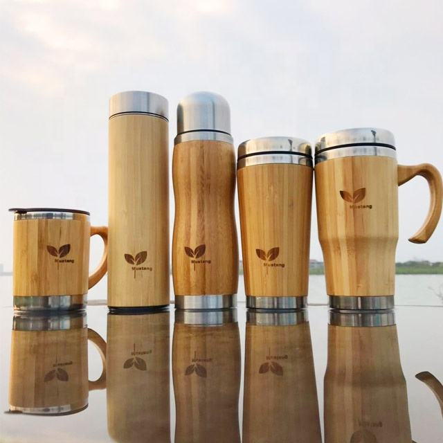 Bamboo Smart Skinny Vacuum Insulated Sealed Double Wall Stainless Steel Travel Tea Mug Water Bottle Mug Tumbler Cups Wholesale