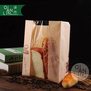 Food grade flat bottom brown kraft paper with window bakery bag for bread and sandwich packaging