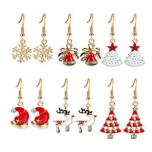 Wholesale 6 Pairs lot Lovely Christmas bell Snowflake tree hat Drop Earrings Enamel Hanging Earring