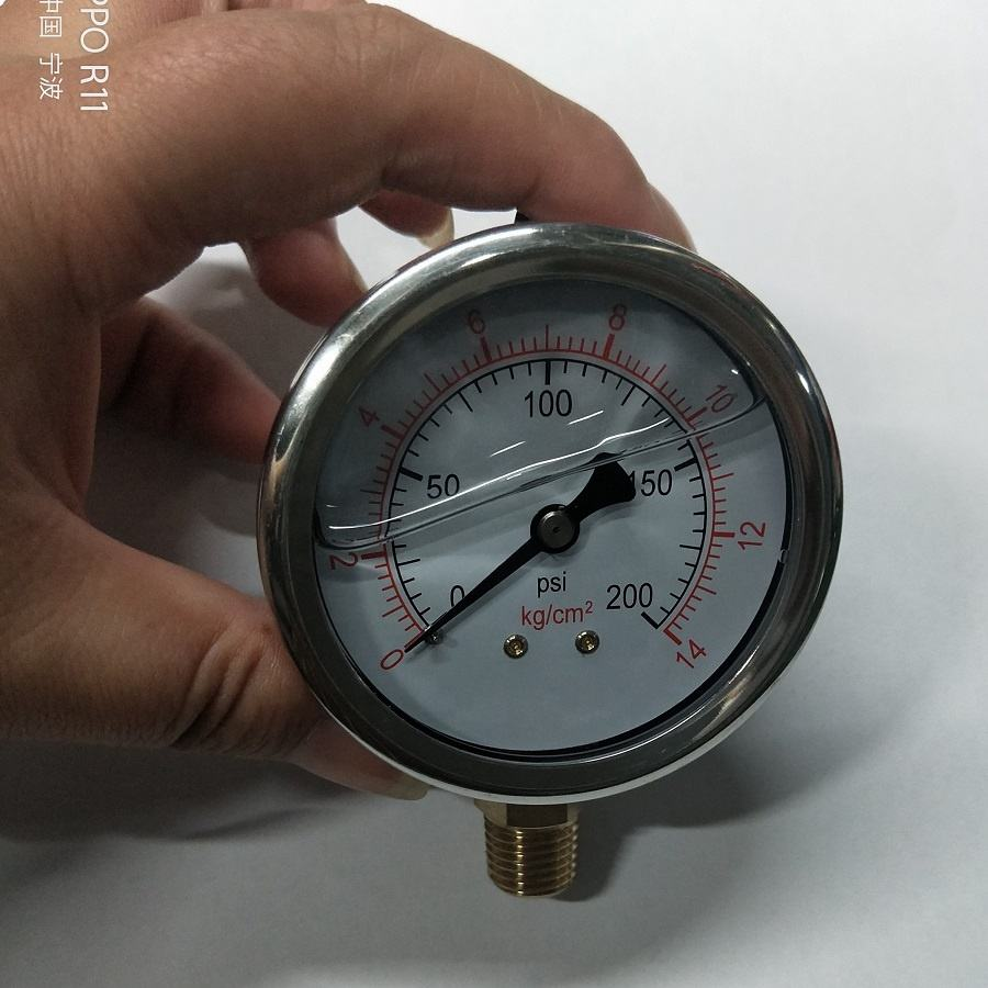 200PSI pressure 1/4NPT side Mount manometer oil filled pressure gauges