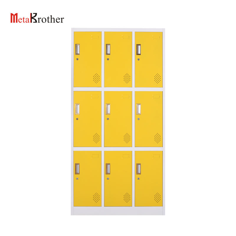 Office School Used 9 Doors Compartment Locker/Metal Wardrobe Closet/Worker Locker Steel Staff Lockers With Cheap Price Cabinets