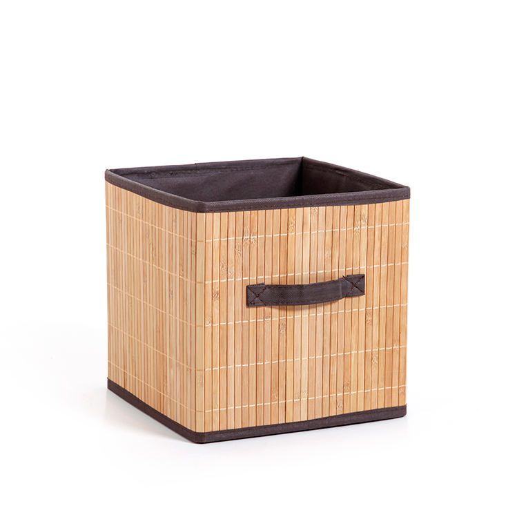 Custom Square Folding Bamboo tabletop clothes drawer cabinet bamboo storage cube