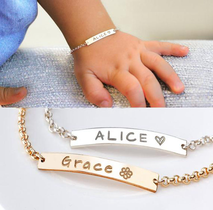 Gold Plated Stainless Steel Bar Baby Bracelet Engraved Name Personalized Letter Bracelet for Newborn Baby