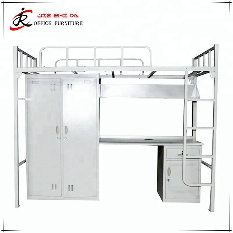 School Student Dormitory Metal Locker Double Decker Adult Military Bunk Beds With Stairs