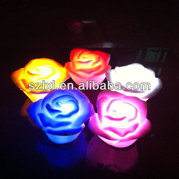 RGB Water Floating LED Rose for Spa or Bath / Multi-color Water-activated LED floating rose night light